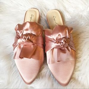 Shoes - Pink twist bow satin mules